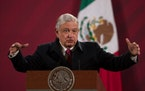 In this Dec. 18, 2020 file photo, Mexican President Andres Manuel Lopez Obrador gives his daily, morning news conference at the presidential pala