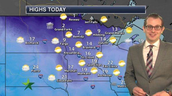 Afternoon forecast: Mostly sunny, high 19