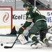 Joel Eriksson Ek of the Wild was stopped by Sharks goalie Martin Jones on Sunday night.