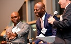 Retired Twins Torii Hunter, left, and LaTroy Hawkins took part in a panel discussion at the 2017 Diamond Awards.