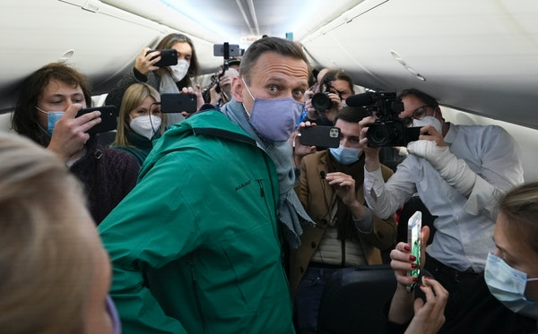 Alexei Navalny prior to his flight to Moscow on Jan. 17. Allies of Navalny are calling for new protests next weekend to demand his release, following