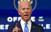 President-elect Joe Biden speaks about the COVID-19 pandemic during an event at The Queen theater, Thursday, Jan. 14, 2021, in Wilmington, Del. (AP Ph