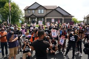 Toussaint Morrison spoke to more than 100 Black Lives Matter protesters as they rallied outside the home of Minneapolis Police Federation president Bo