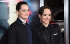 "Emma Portner, left, and Ellen Page arrived at the world premiere of ""Flatliners"" on Sept. 27, 2017, in Los Angeles. Page and Portner say they"