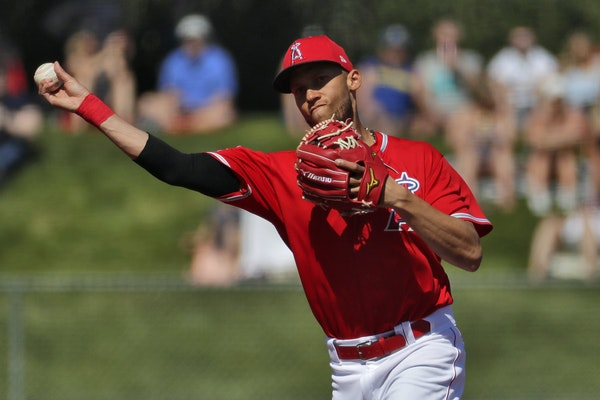 Los Angeles Angels' Andrelton Simmons against the Seattle Mariners during the second inning of a spring training baseball game Wednesday, March 4, 2