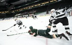 Minnesota Wild left wing Jordan Greenway (18) fell to the ice as he chased down the puck against Los Angeles Kings right wing Alex Iafallo (19). ] AAR