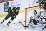 Wild center Joel Eriksson Ek tucked a goal behind Kings goaltender Calvin Petersen in the third period of L.A.'s 2-1 victory at Xcel Energy Center o