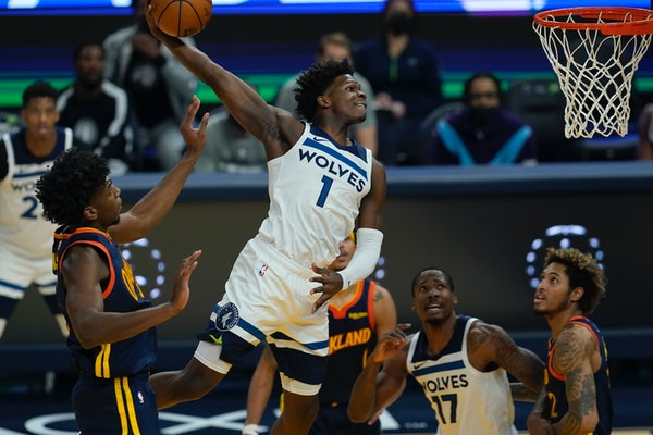 Rookie Anthony Edwards' thundering dunk was one of far-too-few highlights for the Wolves in their 130-108 loss to the Warriors on Monday night.