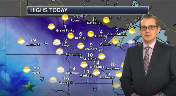 Afternoon forecast: 14, mix of clouds and sun