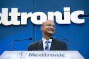 Omar Ishrak, shown at his first Medtronic shareholders in 2011. Photo by Glen Stubbe, Star Tribune.