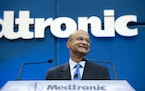 Omar Ishrak, shown at his first Medtronic shareholders in 2011. Photo by Glen Stubbe, Star Tribune.