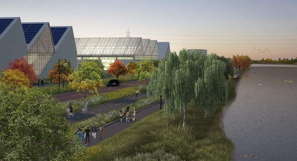 Rendering of the proposed Upper Harbor Terminal development in Minneapolis. A planned February vote has been postponed.