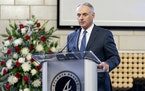 """Major League Baseball Commissioner Rob Manfred speaks during """"A Celebration of Henry Louis Aaron,"""" a memorial service celebrating the life and endurin"""