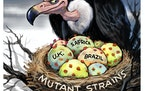 Sack cartoon: Mutant COVID-19 strains