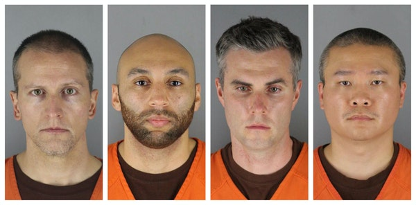 FILE - This combination of photos provided by the Hennepin County Sheriff's Office in Minnesota on June 3, 2020, shows from left, former Minneapol