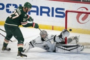 Wild center Nick Bjugstad  lifted the puck over Kings goaltender Jonathan Quick for a second-period goal.