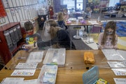 A few weeks ago, Poplar Elementary School kindergarten teacher Ruth Haugstad worked with her class where she separated tables with shower curtains, du