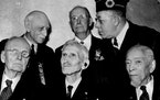 Then 104 years old in 1941, Henry Mack was pictured in a Minneapolis Star Journal photo at bottom right. Five Civil war veterans, according to an acco