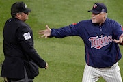 Twins manager Ron Gardenhire, arguing with umpire Hunter Wendelstedt, gave up the aggravations of being a baseball manager. Now son Toby is following
