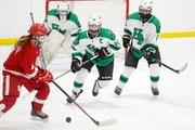 Hill-Murray's Ava Stinnett (19) chases a loose puck late in the third period of Saturday afternoon's game against Benilde-St. Margaret's. Stinne