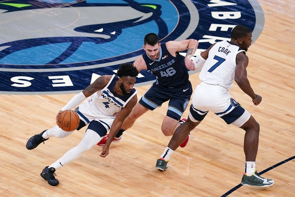 Timberwolves guard Jaylen Nowell (4), a second-round pick from 2019, shot 44% from three-point range for the Wolves' G-League affiliate last season.