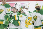 Jonas Brodin got a hug from Kirill Kaprizov as they and their Wild teammates celebrated Brodin's overtime goal and a 4-3 victory over the Avalanche