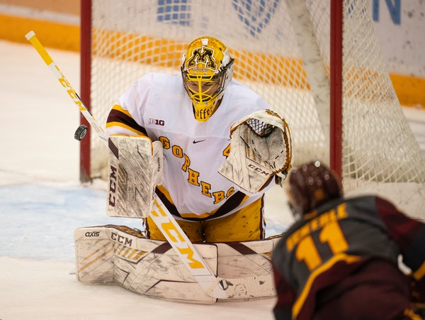 Gophers goalie Jack LaFontaine is 13-3 with a 1.38 goals-against average and .948 save percentage.
