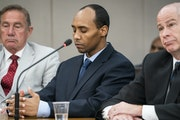 Mohamed Noor listens to victim impact statements during his sentencing hearing with his lawyers Peter Wold, left, and Thomas Plunkett. Former Minneapo