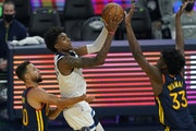 Timberwolves forward Jaden McDaniels was on the bench to start the season but is among the players who have emerged while the Wolves have dealt with m