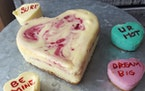 Jeannine Marie Photography Cheesecake conversation hearts are among the many sweet treats available for Valentine's Day.