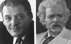 Actor Hal Holbrook as himself (left) and as Mark Twain, circa 1976.