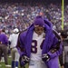 Randy Moss leaves the field at Giant Stadium after the Vikings were beaten by the New York Giants 41-0.