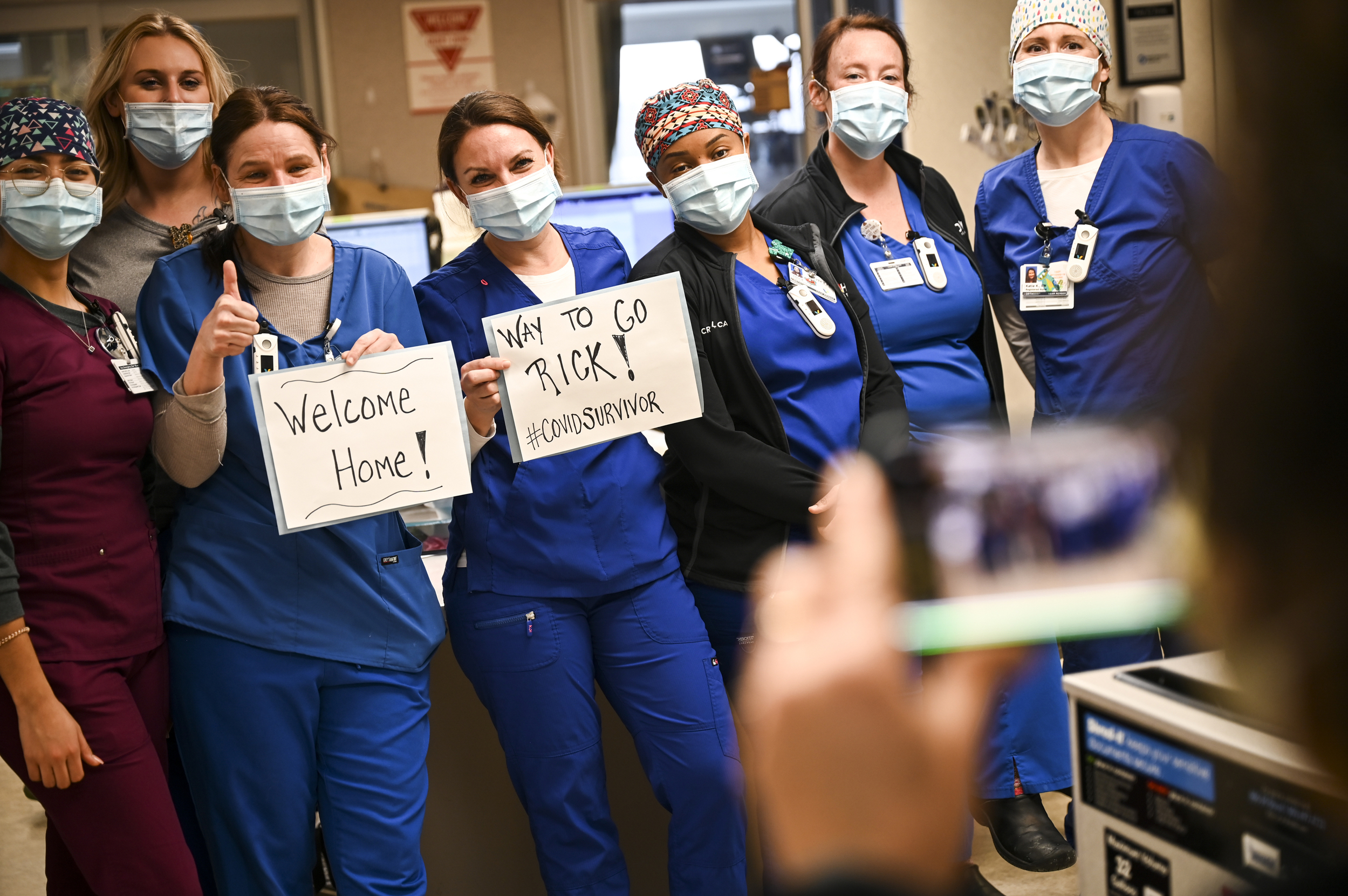 """ICU nurses celebrated the return home of patient Rick Ulrich, who spent weeks fighting for his life. When Ulrich sat up for the first time, cheers broke out in the unit. """"We get excited for very small things,"""" Vilione said. """"But this is a huge thing in his life."""""""