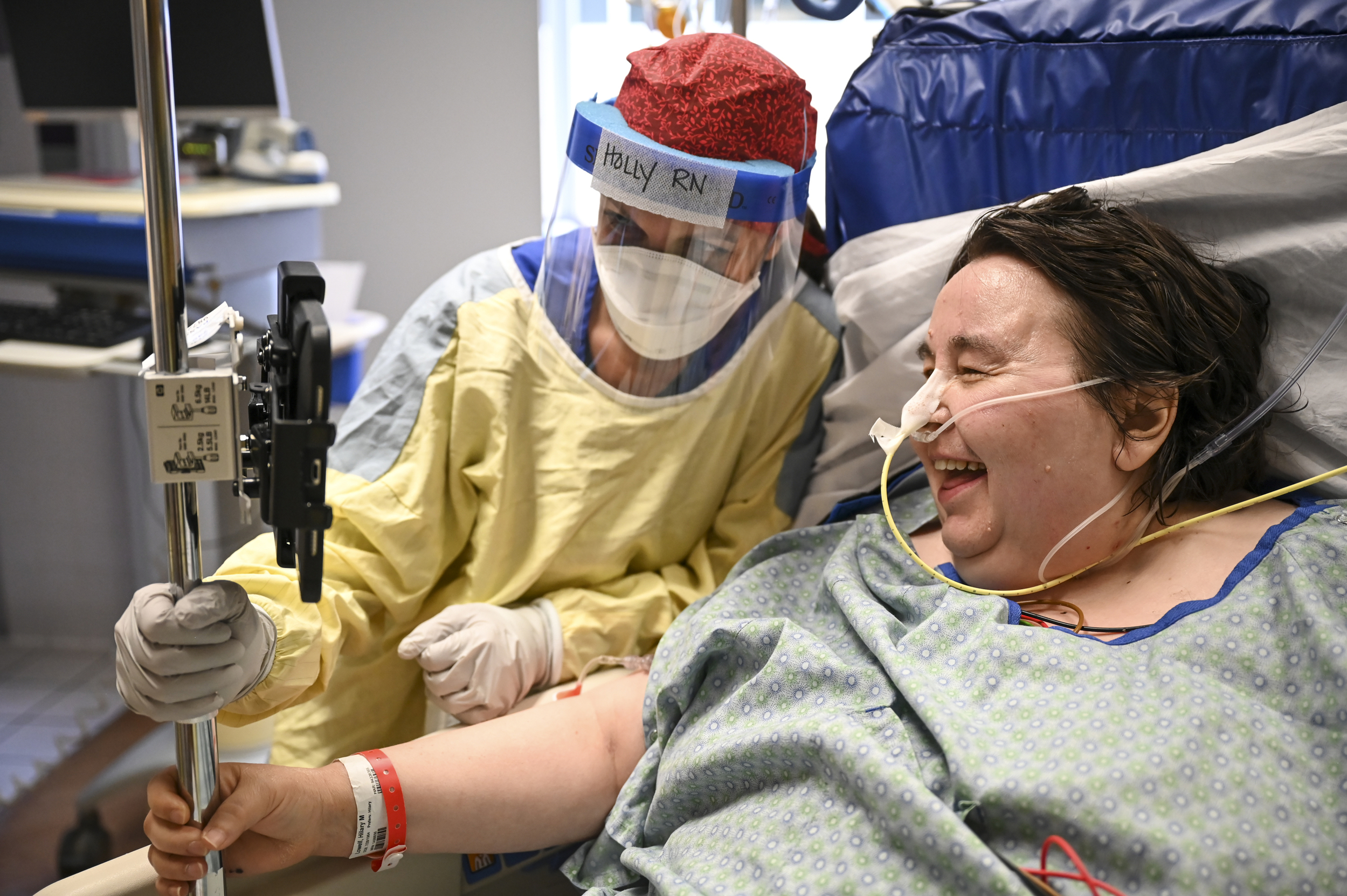 Holly Vilione, a critical care nurse with North Memorial, helped facilitate a a Zoom call with the family of Hillary Lowell, a COVID-19 patient who was extubated Thanksgiving morning in the South Seven ICU.