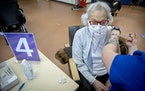 Carol Robertson, who is 105 years old and living through her third pandemic, received a COVID-19 vaccination earlier this month. (ELIZABETH FLORES •