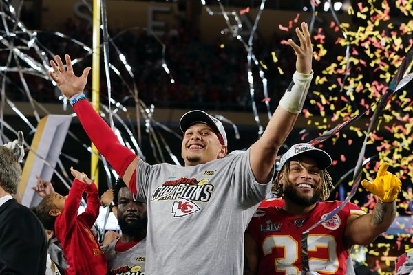 Quarterback Patrick Mahomes after the Chiefs defeated the 49ers in last year's Super Bowl.