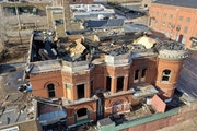 FILE-A fire in November destroyed and collapsed the roof of the Pastoret Terrace building in downtown Duluth.