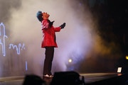 The Weeknd performs during halftime of the NFL Super Bowl 55 football game between the Kansas City Chiefs and Tampa Bay Buccaneers, Sunday, Feb. 7, 20