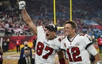 Tampa Bay Buccaneers tight end Rob Gronkowski, left, and quarterback Tom Brady celebrate after defeating the Kansas City Chiefs in the NFL Super Bowl