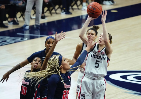 Paige Bueckers went up for a shot against St. John's last week. She's averaged just under 30 points and hit 76% of her three pointers over UConn�