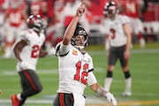 Bucs quarterback Tom Brady celebrated one of his three touchdown passes in the Super Bowl win over the Chiefs.