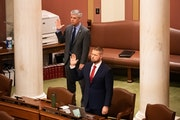 Rep. Steve Drazkowski, R-Mazeppa and Rep. Erik Mortensen, R-Shakopee took the oath in the House Chamber.  Mortensen later attempted to force a vote to