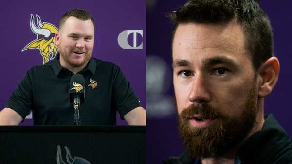 Now both Vikings coordinators — Adam Zimmer (left) and Klint Kubiak — are sons of former head coaches.