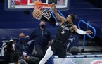 Timberwolves guard Malik Beasley (shown against Oklahoma City) scored 22 of his 30 points in the final nine minutes of the game against the Mavericks