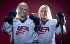 Jocelyne, left, and Monique Lamoureux won one gold medal and two silvers in their Olympic careers.