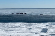 Stranded ice anglers await rescue off of Duluth's Lake Superior shoreline on Tuesday. Photo courtesy Darren Tilbury