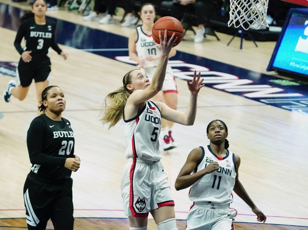 Connecticut freshman guard Paige Bueckers, after 14 college games, is even more precocious than Lindsay Whalen, and even more productive than Maya Moo