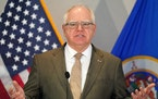 Gov. Tim Walz, at a press conference last month.