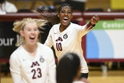 The Gophers' Stephanie Samedy (10) was selected as the National Player of the Week on Wednesday.