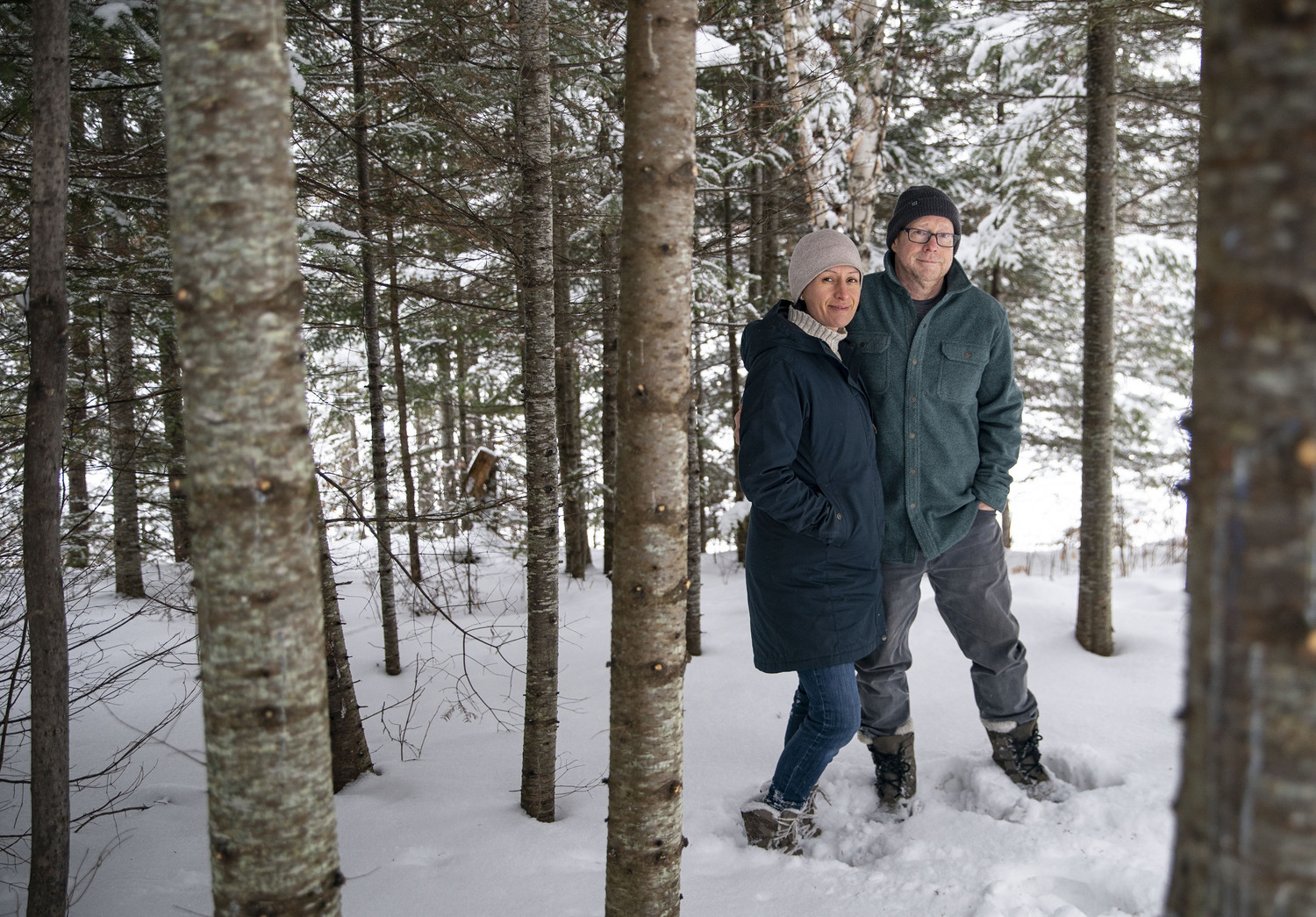 Barbara Platnick and Dave Kregness moved from Plymouth to a year-round home up the Gunflint Trail, knowing Kregness would have the high-speed internet needed to continue working.
